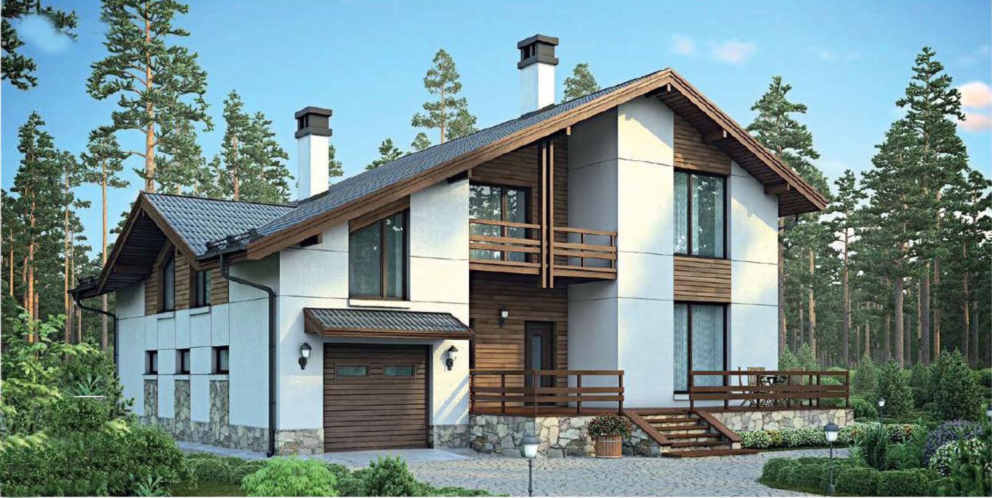 Проект дома 220 м2 - бетонный загородный дом в один этаж с м.
